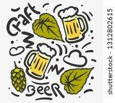 craft beer hand drawn vector... | Shutterstock .eps vector #1312802615