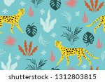 seamless pattern witn leopards... | Shutterstock .eps vector #1312803815