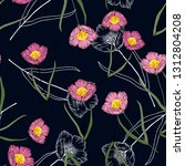 retro wild seamless floral... | Shutterstock .eps vector #1312804208