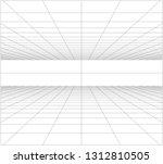perspective grid floor ceiling... | Shutterstock .eps vector #1312810505