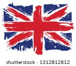 a grunge splatted union jack... | Shutterstock . vector #1312812812