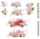 set of bouquets  roses  spring... | Shutterstock .eps vector #1312822448