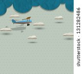 airplane and clouds from paper. ...
