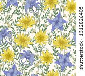botanical seamless pattern with ... | Shutterstock . vector #1312826405