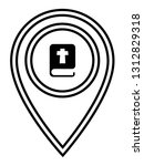 bible icon and map pin. logo...