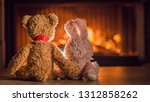 toy bear hugging a hare look at ... | Shutterstock . vector #1312858262