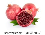 pomegranate with leaves... | Shutterstock . vector #131287832