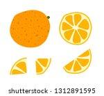 oranges set. whole  half ... | Shutterstock .eps vector #1312891595