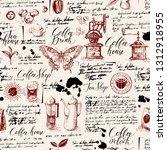 vector seamless pattern on tea... | Shutterstock .eps vector #1312918955