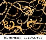 hand drawn baroque striped... | Shutterstock .eps vector #1312927538