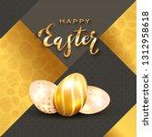 three golden easter egg and...   Shutterstock .eps vector #1312958618