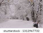 snowy park with trees covered... | Shutterstock . vector #1312967732