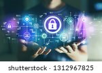 cyber security with young man... | Shutterstock . vector #1312967825