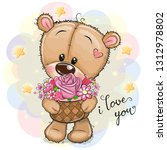 cartoon teddy bear with flowers ... | Shutterstock .eps vector #1312978802