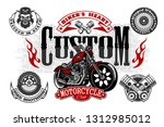 vintage custom motorcycle label.... | Shutterstock .eps vector #1312985012