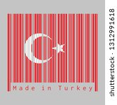 barcode set the color of turkey ... | Shutterstock .eps vector #1312991618