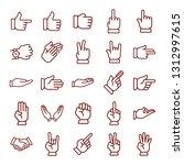 hand gesture. minimal thin line ...   Shutterstock .eps vector #1312997615
