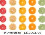 isolated citrus slices on white ... | Shutterstock . vector #1313003708
