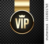 vip golden and black sign or... | Shutterstock .eps vector #1313021765
