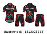 cycling jerseys mockup t shirt... | Shutterstock .eps vector #1313028368