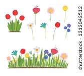 spring flowers growing in the... | Shutterstock .eps vector #1313043512