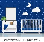 mock up poster frame in modern... | Shutterstock .eps vector #1313045912