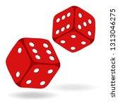 red game dice in flight. casino ... | Shutterstock .eps vector #1313046275