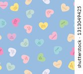 seamless repeat heart vector... | Shutterstock .eps vector #1313049425