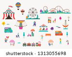 amusement park with carousels ... | Shutterstock .eps vector #1313055698