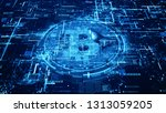 bitcoin currency sign in... | Shutterstock . vector #1313059205