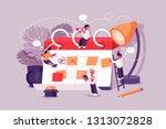 calendar schedule board with... | Shutterstock .eps vector #1313072828