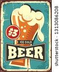 ice cold beer vintage metal... | Shutterstock .eps vector #1313086208