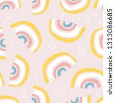 seamless childish pattern with... | Shutterstock .eps vector #1313086685