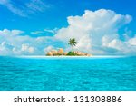 Small photo of Dream Island. Amazing exotic paradise with palm three, fantasy beach, turquoise water and blue sky