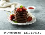 chocolate pancakes with... | Shutterstock . vector #1313124152
