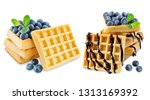 waffeles berries and mint leaf... | Shutterstock . vector #1313169392