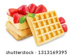 waffeles berries and mint leaf... | Shutterstock . vector #1313169395