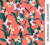 seamless pattern with tropical... | Shutterstock .eps vector #1313205905