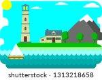 seascape lighthouse house... | Shutterstock .eps vector #1313218658
