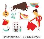 vector set spain icons flat... | Shutterstock .eps vector #1313218928