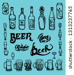 set of beer objects. hand drawn ...   Shutterstock . vector #1313237765