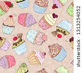 yummy cupcakes pattern. many... | Shutterstock .eps vector #1313254052