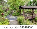 Kula Botanical Garden. Maui. Hawaii. Covered bridge. Tropical landscape. - stock photo