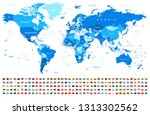 blue world map and flags  ... | Shutterstock .eps vector #1313302562
