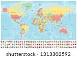 world map and flags   borders ... | Shutterstock .eps vector #1313302592
