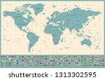 world map and flags   borders ... | Shutterstock .eps vector #1313302595