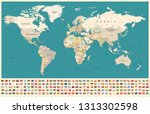 world map and flags   borders ... | Shutterstock .eps vector #1313302598