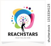 children reach stars logo... | Shutterstock .eps vector #1313334125