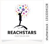 children reach stars logo... | Shutterstock .eps vector #1313334128