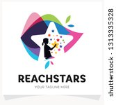 children reach stars logo... | Shutterstock .eps vector #1313335328